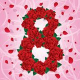 Eight of red roses. Green leafs. Red petals. Colorful eight of red roses on a pink background. Green leafs. Red petals. For 8 march Vector Illustration
