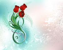 Eight with red tulips Royalty Free Stock Photos