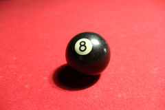 Eight. Rest in a game of billiards, focusing on the next objective, ball eight, pool table Royalty Free Stock Photo