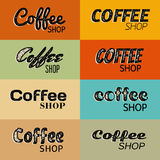 Eight retro grunge coffee shop symbols Stock Photo