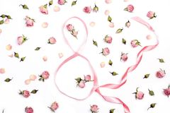 Eight of ribbons with pink roses on white background.Women`s Day royalty free stock images