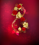 Eight of roses. Eight of interwoven gold and red roses on red textural background Stock Photography