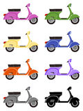 Eight scooters in side view Royalty Free Stock Photos