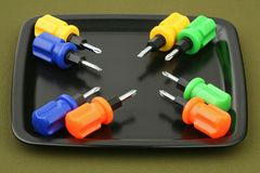 Eight screw-drivers royalty free stock image