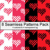 Eight seamless patterns pack with hearts valentines day love Stock Image