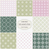 Eight seamless patterns for scrapbooking Stock Photography
