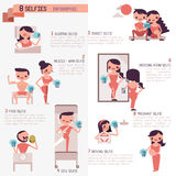 Eight selfies infographic Illustrator royalty free illustration