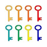 Eight shiny, bright colored keys Stock Photo