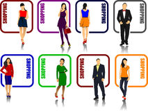 Eight shopping icons with man and woman image. Vector illustration Stock Photography