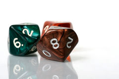 Eight Sided Dice. Three eight sided dice on white background stock photos