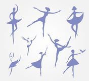 Eight silhouettes of ballet dancers in ballet dresses set vector. Silhouettes of a girl with eight symbols of blue on a light background set of isolates dancing Stock Photos