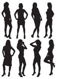 Eight silhouettes of beautiful girls. Vector illustration Royalty Free Stock Images