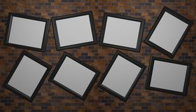 Eight skew empty picture frames Royalty Free Stock Photo