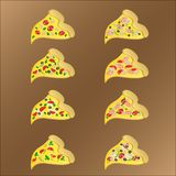 Eight slices of vegeterian and meat pizza with cheese royalty free illustration
