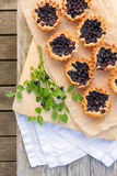 Eight small homemade blueberry pies on wooden table from top. Stock Images