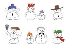 Eight snowmen. Vector eight snowmen hand drawing Royalty Free Stock Images