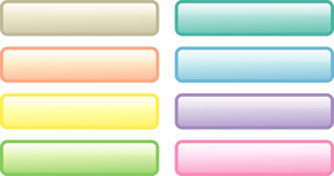Eight soft-colored web buttons. Set of eight glossy rectangular web buttons in soft colors; isolated Stock Photo