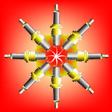 Eight Spark Plugs. Eight motor vehicle spark plugs sparking together Royalty Free Stock Photos