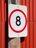 Eight speed limit on red Royalty Free Stock Images