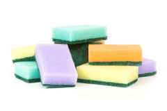 Eight sponges. Lay on a white surface royalty free stock photography