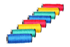 Eight spools. Of thread isolated over white Stock Photo