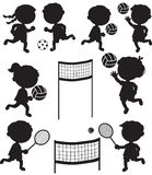 Eight sportive kids black silhouettes Stock Photo