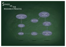 Eight Step of Research Process on Green Chalkboard. Business and Marketing or Social Research Process, Eight Step of Qualitative Research Methods on Green Royalty Free Illustration