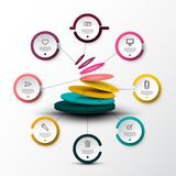 Eight Steps Company Web Infographic Concept. With Sample Text and Icons on Colorful Paper Cut Circle Labels . Vector Company Infographics Web Presentation or stock illustration