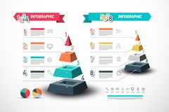 Eight Steps Infographic Design with Pyramid. Data Flow Vector Concept with Sample Text and Technology Web Icons. stock illustration