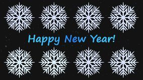 Eight stylized snowflakes rotate
