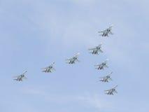 Eight Su-30 fly Stock Photography
