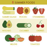 Eight summer foods and vegetables  Royalty Free Stock Images