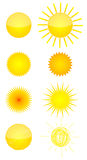 Eight  sun icons Royalty Free Stock Images