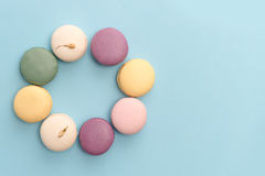 Eight sweet colorful macaroons Stock Photos