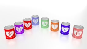 Eight tin cans in different colors with letters showing the word Royalty Free Stock Photography