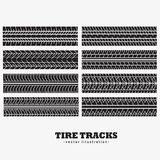 Eight tire tracks marks set. Vector Royalty Free Stock Photos