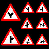Eight Triangle Shape Red White Road Signs Set 2 Stock Image