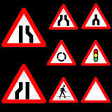 Eight Triangle Shape Red White Road Signs Set 3 Royalty Free Stock Image