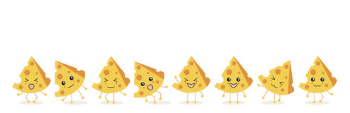 The eight triangular pieces of cheese. The illustration.The eight triangular pieces of cheese yellow ,dance and laugh in various poses on a white background Stock Photos