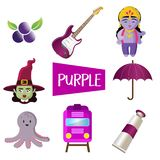 Eight vector illustrations in purple color stock illustration
