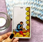 The Eight VIII of Pentacles Tarot Card. This card is about Success, Commitment, Financial Security, Craftsmanship. He is a Master, Expertise, Specialist and royalty free stock photos