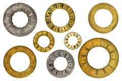 Eight vintage clock face rings Royalty Free Stock Photography