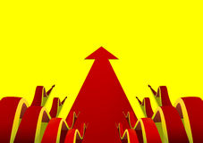 Eight wavy red arrows creeping forward on flat arrow yellow background Royalty Free Stock Images