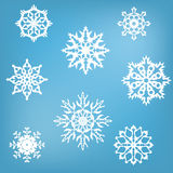 Eight white snowflakes royalty free stock photography