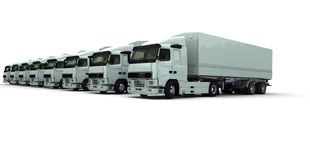 Eight white trucks in a row. 3D rendering of eight white trucks parked against a white background Stock Image