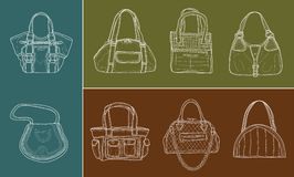 Eight women bags. Vector editable illustration of eight women bags Stock Image