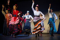 The eight women dances during a performance of House Flamenco Flamenqueria Royalty Free Stock Photography