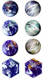Eight Worlds. Choose from eight different renderings of the world -- six round and two square, isolated on white for easy cut & paste Stock Photography
