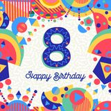 Eight 8 year birthday party greeting card number Royalty Free Stock Photos