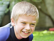 Eight year old boy smiling Stock Photos
